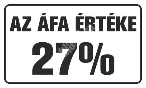 Az ÁFA értéke 27%