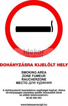 Dohányzásra kijelölt hely 2013-as szabályzat alapján.