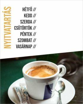 Nyitvatartás 10 - kávézós