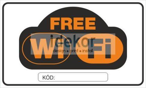 Free WiFi felirat kóddal vagy kód nélkül/matrica/tábla