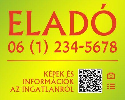 Zöld-piros eladó/kiadó felirat/tábla egyedi információkkal