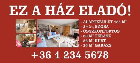 Nagy méretű piros-fehér eladó/kiadó felirat/tábla egyedi információkkal