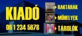 Nagy méretű kék-sárga eladó/kiadó felirat/tábla egyedi információkkal