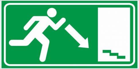 Utánvilágító menekülés lépcső jobba le 25x12,5 cm