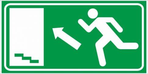 Utánvilágító menekülés lépcső balra fel 25x12,5 cm