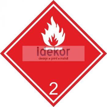 Gyúlékony gázok 2.1 alosztály - ADR felirat