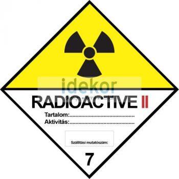 Radioaktív anyagok II sárga kategória