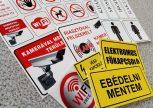 Figyelmeztető és információs feliratok, piktogramok