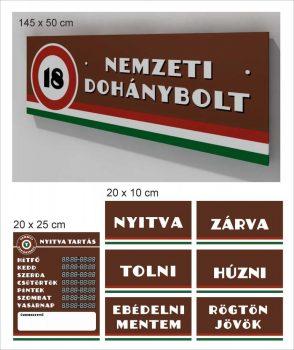 Nemzeti dohánybolt tábla 200 x 50 cm + matrica alap csomag
