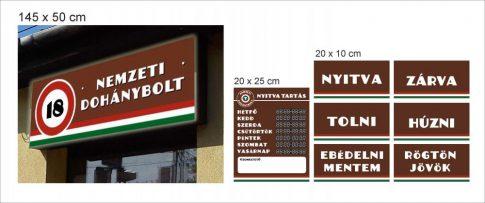 Nemzeti dohánybolt tábla/matrica csomag OPTIMÁLIS - világító dobozzal (145 x 50 cm) (56 615 Ft + Áfa)