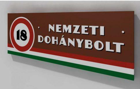 Nemzeti Dohánybolt fólia/reklámtábla/világító doboz alap méretben (145 x 50 cm)