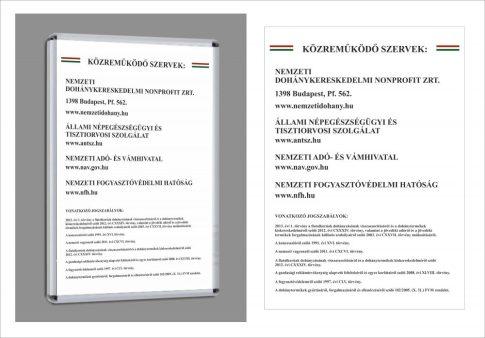 Nemzeti Dohánybolt A1 információs plakátként vagy pattintós plakátkerettel vagy clip kerettel