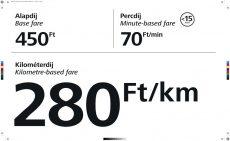 Minősített budapesti taxi egységes kilométerdíj matrica 50 X 30 cm (átlátszó)